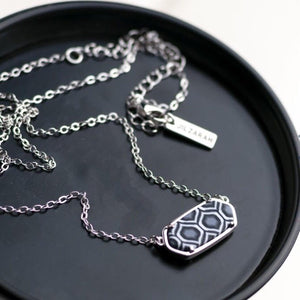 Black White Rhodium Reversible Hex Short Chain Necklace
