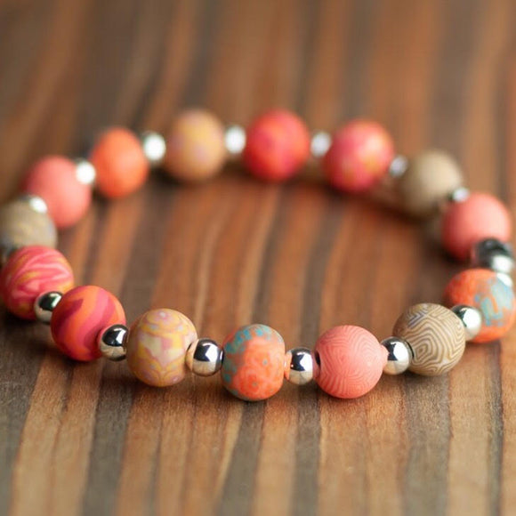 Coral Crush Classic Beaded Bracelet