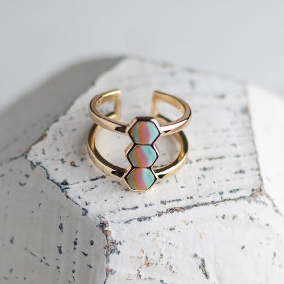 Salt Water Taffy 14K Gold Hexagon Ring