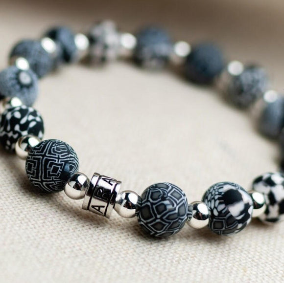 Black White Classic Beaded Bracelet
