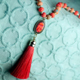 Coral Crush Tassel Beaded Necklace