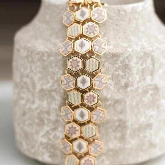 Linen Gold Hexagon Toggle Bracelet