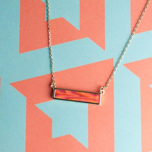 Coral Crush Gold Reversible Bar Necklace