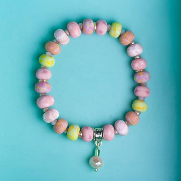 Pink Salt Clay Bead Bracelet