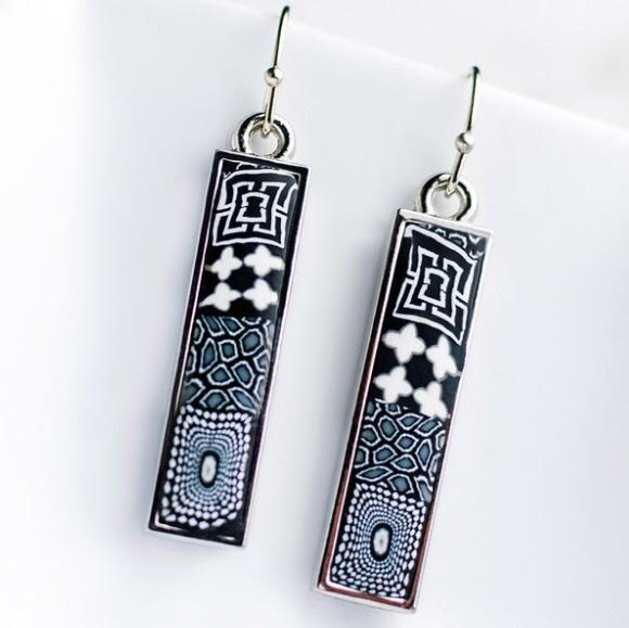Black White Silver Reversible Bar Earrings