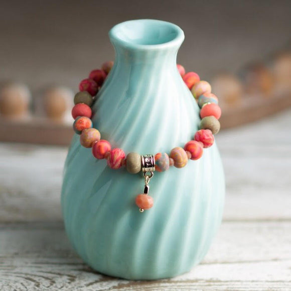 Coral Crush Clay Bead Bracelet