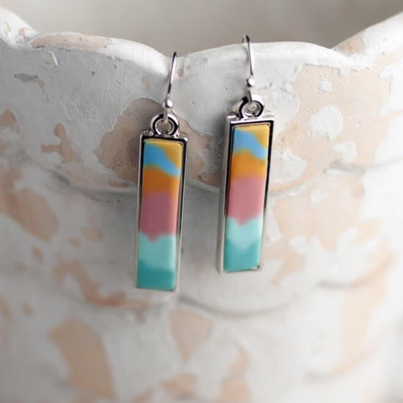 Salt Water Taffy Silver Reversible Bar Earrings