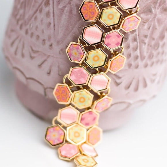 Pink Salt Gold Hexagon Toggle Bracelet