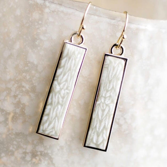 Linen Gold Reversible Bar Earrings