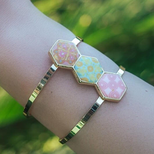 Pink Salt 14K Gold Hexagon Cuff Bracelet