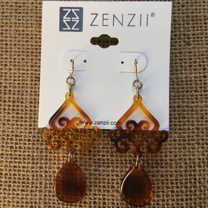 Zenzii Scroll And Drop Earrings - Tortoise