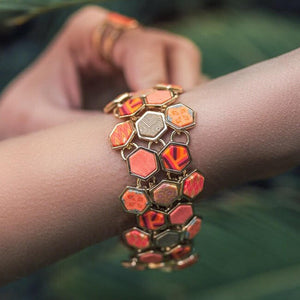 Coral Crush Gold Hexagon Toggle Bracelet