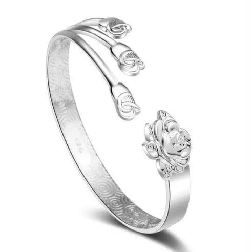 Sterling Silver Bracelet - Rose with 3 Buds