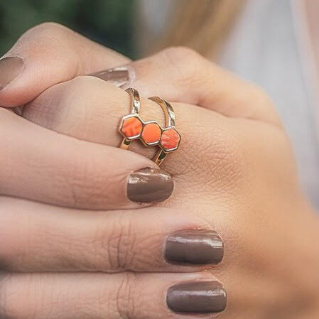 Coral Crush 14K Gold Hexagon Ring