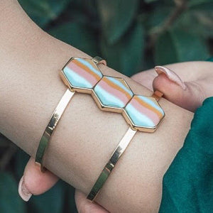 Salt Water Taffy 14K Gold Hexagon Cuff Bracelet