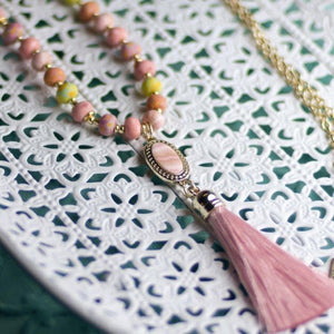 Pink Salt Tassel Beaded Necklace
