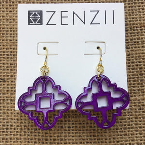 Zenzii Modern Mosaic Earrings - Purple
