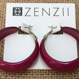 Zenzii Mod Hoop Earrings - Hot Pink