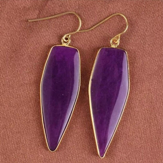 Elongated Hex Earrings - Purple/Gold