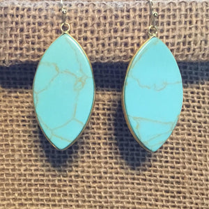 Marquise Earrings - Turquoise/Gold