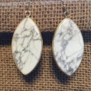 Marquise Earrings - Howlite/Gold