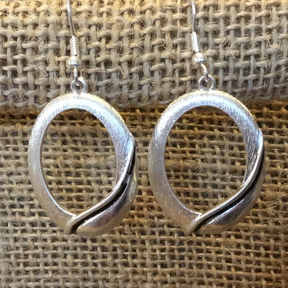 Silver Brushed Oval Earrings