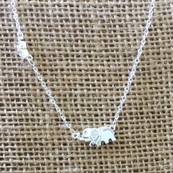 Sterling Silver Necklace - Elephants