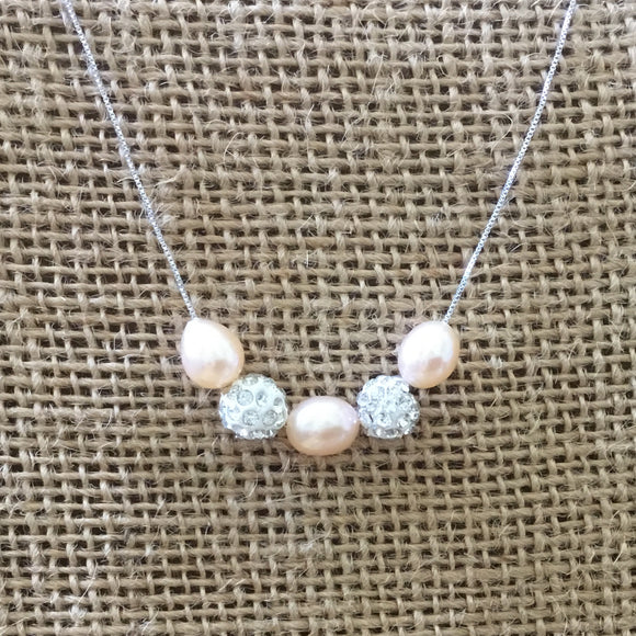 Sterling Silver Necklace - Pink Freshwater Pearls and Shamballa Beads