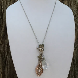 Leaf, Crown, Cross and Prism Necklace