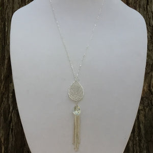 Woven Beads, Crystal and Chain Tassel Necklace