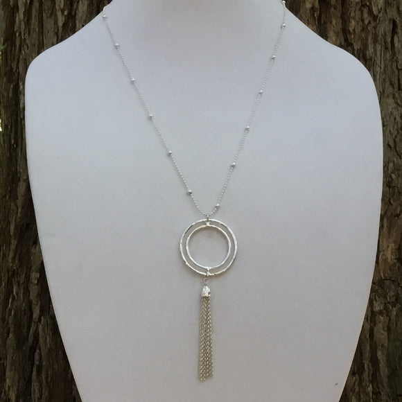 Silver Double Circle Chain Tassel Necklace