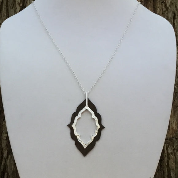 Silver with Brown Cork Necklace