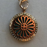 Aroma Therapy Locket - Rose Gold Daisy with Crystals