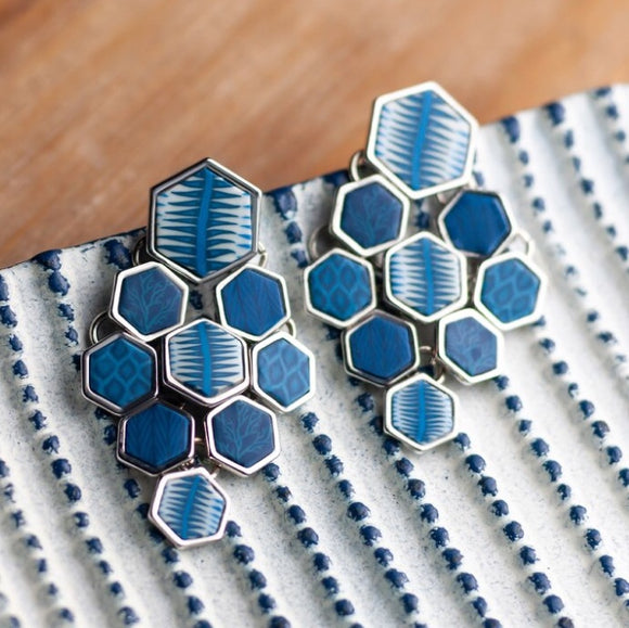 Navajo Blue Silver Hexagon Chandelier Earrings