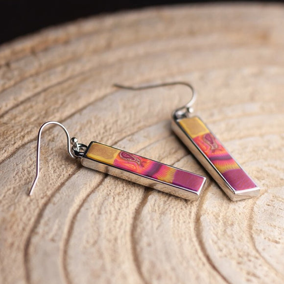 Navajo Blue Silver Reversible Bar Earrings