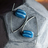 Navajo Blue Silver Triangle Earrings