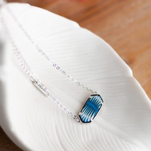 Navajo Blue Rhodium Reversible Hex Short Chain Necklace
