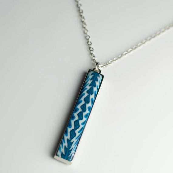 Navajo Blue Silver Vertical Bar Necklace