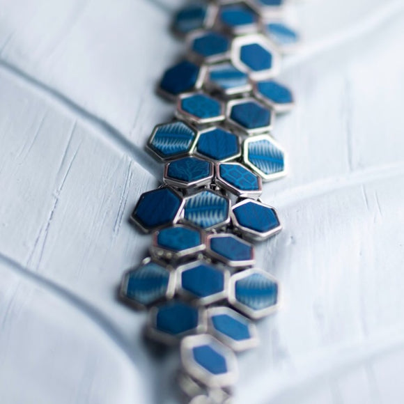 Navajo Blue Silver Hexagon Toggle Bracelet