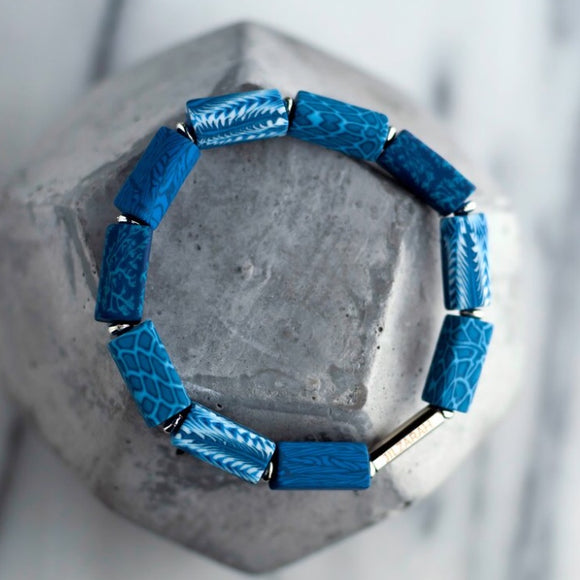 Navajo Blue Square Beaded Bracelet