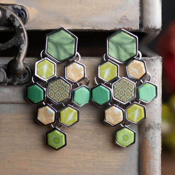 Botanical Green Silver Hexagon Chandelier Earrings