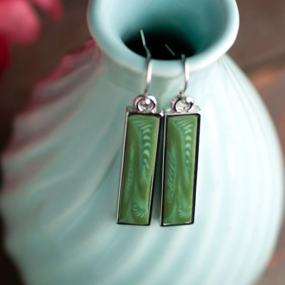 Botanical Green Silver Reversible Bar Earrings