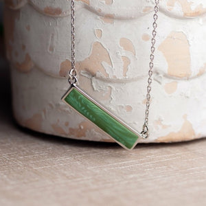 Botanical Green Silver Reversible Bar Necklace