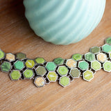 Botanical Green Gold Hexagon Toggle Bracelet