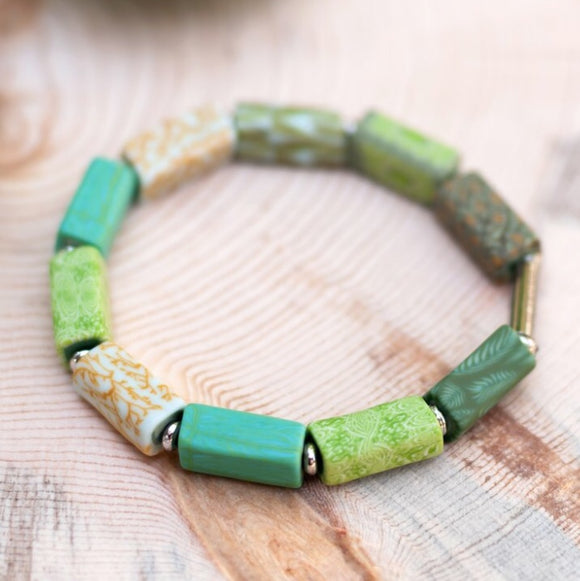 Botanical Green Square Beaded Bracelet