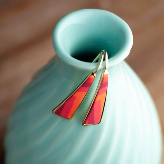 Coral Crush 14K Gold Triangle Drop Earrings