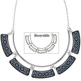 Black White Silver Cleopatra Necklace