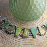 Botanical Green Silver Reversible Triangle Bracelet