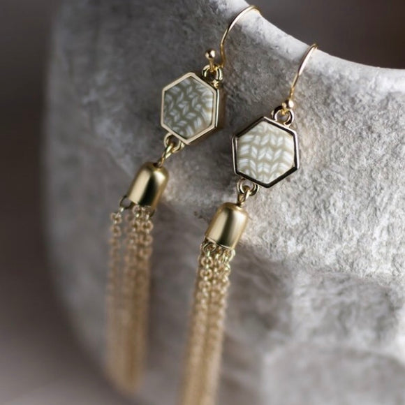 Linen Gold Hexagon Tassel Earrings