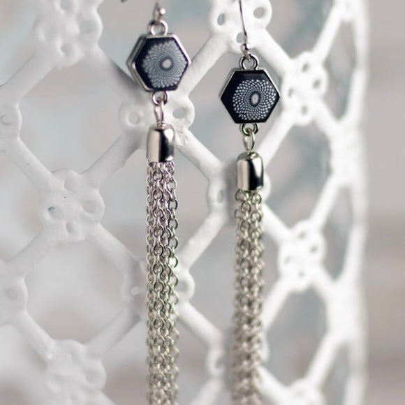 Black White Silver Hexagon Tassel Earrings